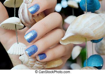 piękny, iskierka, błękitny, manicure
