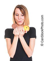 piękny, jabłko, słodki, młody, typować, samica, ciastko, ...