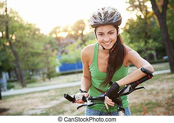 piękny, jeżdżenie, kobieta, rower, młody