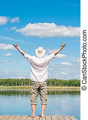 piękny, jego, natura, poza, herb nazad, jezioro, napięty, człowiek, cieszący się, molo, boki, prospekt
