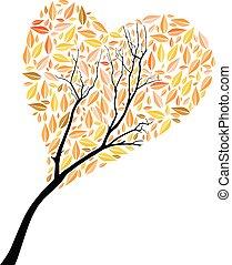 piękny, jesień, drzewo, sercowa forma, dla, twój, projektować