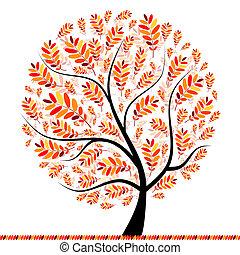 piękny, jesień, projektować, drzewo, twój