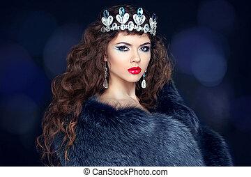 piękny, jewelry., kobieta, futro, amant, coat., fason, ...