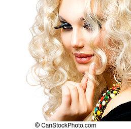 piękny, kędzierzawy, odizolowany, włosy, blond, dziewczyna, biały