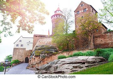 piękny, kaiserburg, nuremberg, dziedziniec, wewnętrzny,...