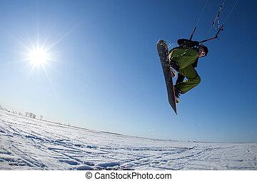 piękny, kania, suring, młody, powietrze, surfer, dzień, zima