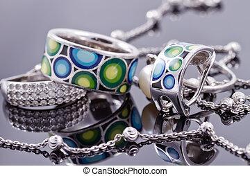 piękny, klejnoty, niezwykły, łańcuch, ring, srebro