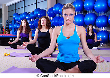 piękny, klub, medytacja, dziewczyny, stosowność