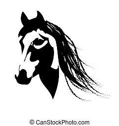 piękny, koń, arabski, sylwetka