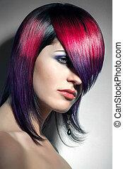 piękny, kolorowanie, farbowany włos, włosy, portret, profesjonalny, dziewczyna