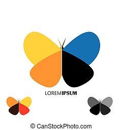 piękny, komplet, barwny, -, motyle, wektor, logo, ikona