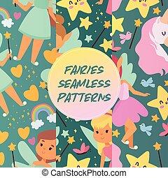 piękny, komplet, pixy, kaprys, dziewczyna, skrzydełka, tęcza...