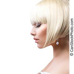 piękny, krótki, zdrowy, na, włosy, dziewczyna, biały