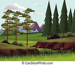 piękny, krajobraz, natura