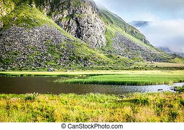 piękny, krajobraz, od, norwegia, skandynawia