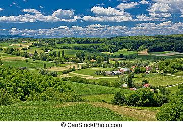 piękny, krajobraz, wiosna, zielony, czas, krajobraz