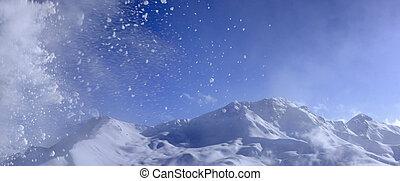 piękny, krajobraz, zima, prospekt
