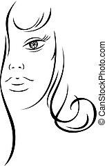 piękny, kreska, kobieta, rysunek, twarz
