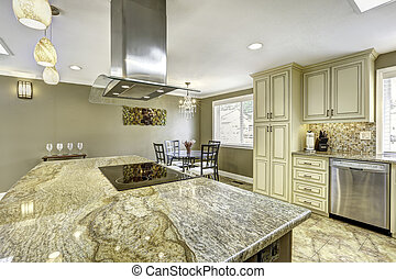 piękny, kuchnia, wyspa, z, granit, górny, built-in, piec, i, ho