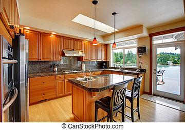 piękny, kuchnia, z, wyspa, granit, i, twarde drewno podłoga