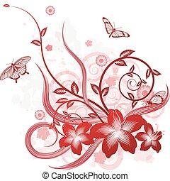 piękny, kwiat, motyw, tło
