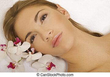 piękny, kwiat, piękno, młody, twarz, kobieta
