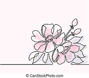 piękny, kwiat, rysunek