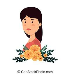piękny, kwiatowa ozdoba, kobieta