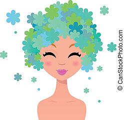 piękny, kwiatowy, fryzura, kobieta