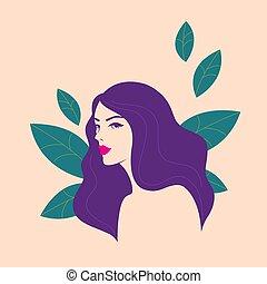 piękny, kwiatowy, kobieta, elementy