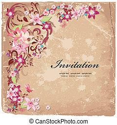 piękny, kwiatowy zamiar, karta, zaproszenie