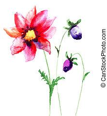 piękny, kwiaty, sumer