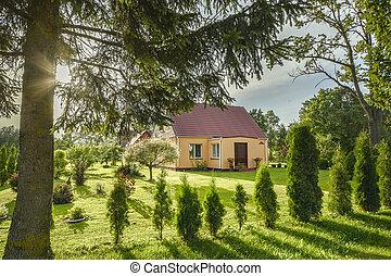 piękny, lato, cottage.