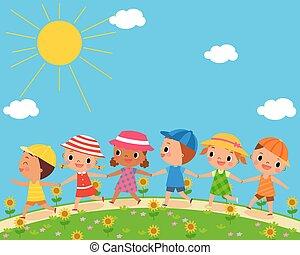 piękny, lato, dzieci, dzień, chód