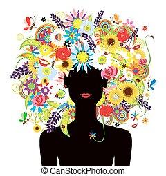 piękny, lato, fryzura, kobieta twarz, kwiatowy