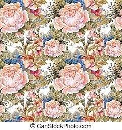piękny, lato, ogród, pattern., seamless, akwarela, rozkwiecony, kwiaty