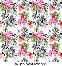 piękny, lato, ogród, próbka, seamless, akwarela, rozkwiecony, kwiaty