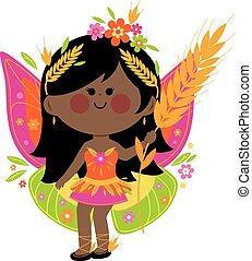 piękny, lato, wektor, fairy., ilustracja