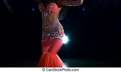 piękny, lekki, młody, wstecz, tułów, tancerz, brzuch, czarnoskóry, dziewczyna, błyszczący