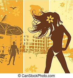 piękny, letnie święto, kobieta, plaża