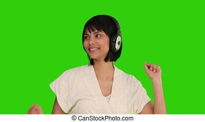 piękny, listenning, kobieta, muzyka, asian