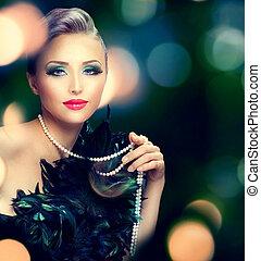 piękny, luksus, portret kobiety, na, ciemny, zamazane tło