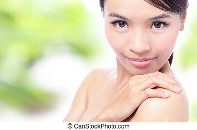 piękny, młoda kobieta, twarz, zatkać się