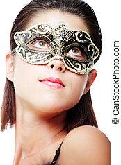 piękny, młoda kobieta, w, mięsopustna maska
