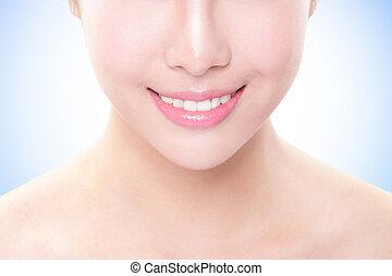 piękny, młoda kobieta, zęby, zatkać się