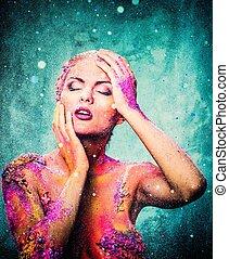 piękny, młoda kobieta, z, konceptualny, barwny, sztuka ciała