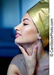 piękny, młoda kobieta, z, makijaż, w, przedimek określony przed rzeczownikami, egipcjanin, styl