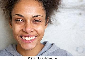 piękny, młody, afrykańska amerykańska kobieta, uśmiechanie się