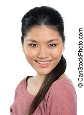 piękny, młody, asian kobieta, w, jej, twenties.