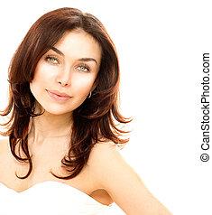 piękny, młody, samica, portret, odizolowany, na, white., doskonała skóra